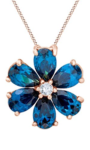(Jewel Zone US Simulated London Blue Topaz & White Sapphire CZ Flower Pendant Necklace in 14k Rose Gold Over Sterling Silver)