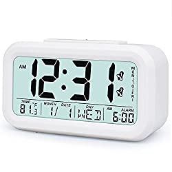 TXL Digital LCD Alarm Clock Battery Operated Optional Weekday Alarm and 12/24 Mode, Sensor Light/Temperature/Snooze, Large Display Desktop Clock for Bedroom/Office/Kitchen/Kids,White