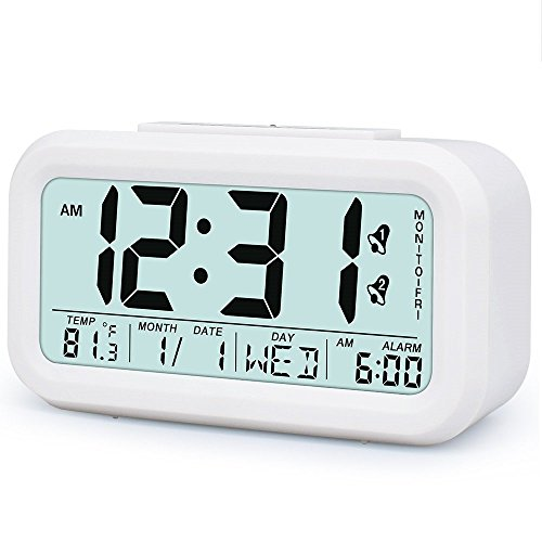 Alarm Clocks for Heavy Sleepers with Soft Backlight, Month & Date & Temperature Display, LCD Screen,One Key Alarm Clock Group, Fashion Style Digital Office Home Alarm Clock for Teens or Kids White
