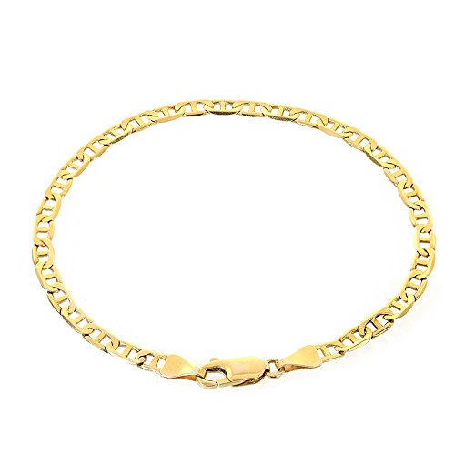 6.9mm 14K Yellow Gold Marine Curb Gucci Link Chain Bracelet Italy