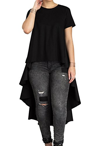 Women's Casual Chic Blouse Short Sleeve Round Neck Dovetail Hem T-Shirt Dress Black