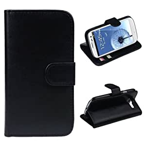 TPT Leather Wallet Flip Case Cover for Samsung Galaxy S3 I9300 (Black)