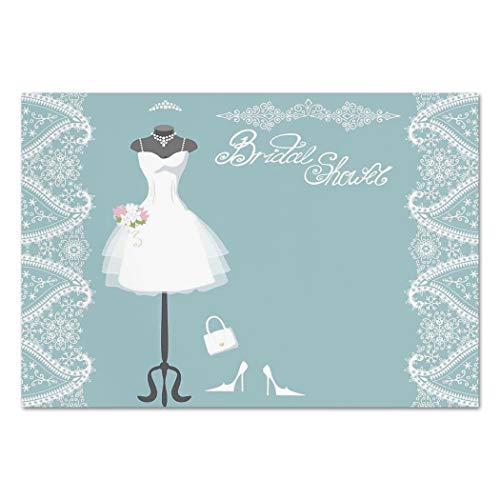 Large Wall Mural Sticker [ Bridal Shower Decorations,Vintage French Inspired Bride Dress with Floral Frames,Baby Blue and White ] Self-adhesive Vinyl Wallpaper / Removable Modern Decorating Wall Art