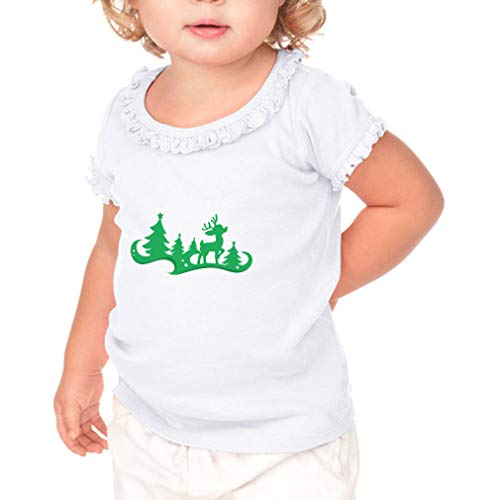 Cute Rascals Rudolf Forest Green Short Sleeve Toddler Cotton Ruffle Top Tee Sunflower - White, 6 Months -