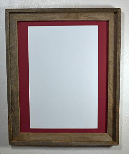 - Rustic Picture Frame Cabernet Red 12x18 Mat With Glass Wall Hung Reclaimed Wood 16x20 Without Mat