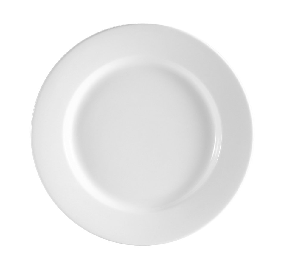 CAC China RCN-21 Clinton Rolled Edge 12-Inch Super White Porcelain Plate, Box of 12