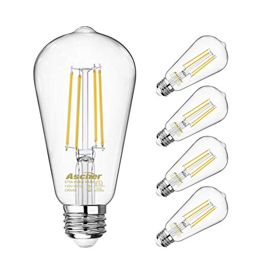 (Vintage LED Edison Bulbs 60 Watt Equivalent, Eye Protection Led Bulb with 95+ CRI, Non-Dimmable, High Brightness Daylight White 4000K, ST58 Antique LED Filament Bulbs, E26 Medium Base, Pack of 4)
