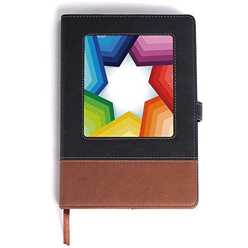 Journa for Men,AbstractRainbow Colored Stripes Shaping a Giant Star Conceptual Spectrum Modern Art Printfor Men & Women - A5/6.04x8.58 in ()