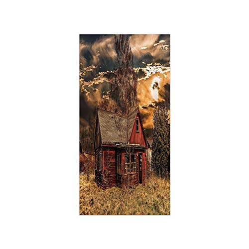 3D Decorative Film Privacy Window Film No Glue,Scenery Decor,Scary Horror Movie Themed Abandoned House in Pale Grass Garden Sunset Photo,Multicolor,for Home&Office ()