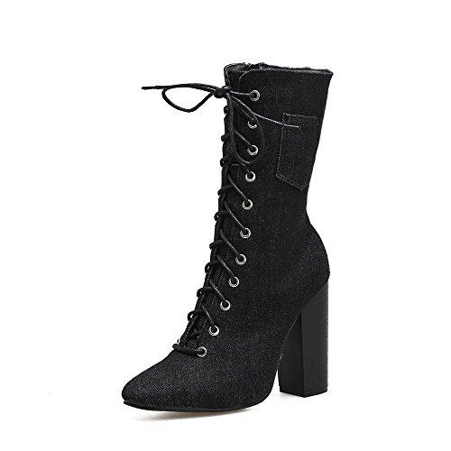 Cross Chaussures Femmes Strap Denim Et Bottes Le Pour Bottes Martin Hauts Tube à Talons automne black Hiver L YC Dans qUOpRn7