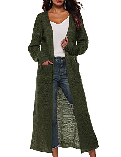 Autumn Long Cardigan with Pockets Women's Loose Casual Open Front Sweater Coat Army Green
