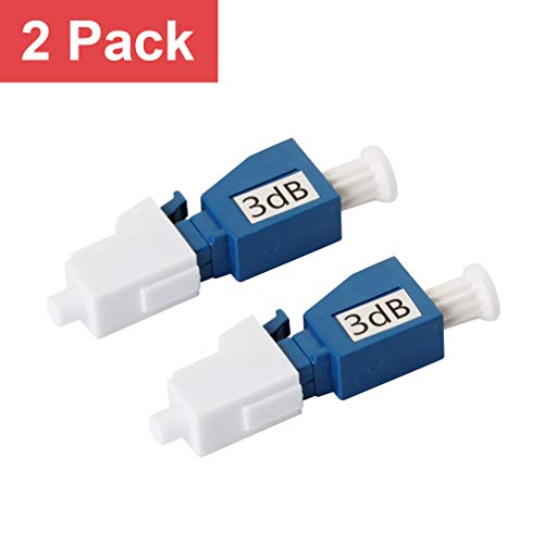LC/UPC Fiber Optic Attenuator 3dB, in-Line Attenuator, Male/Female, Single-Mode Fixed, dB Options: 3dB, 5dB, 7dB, 10dB, 2 Pack