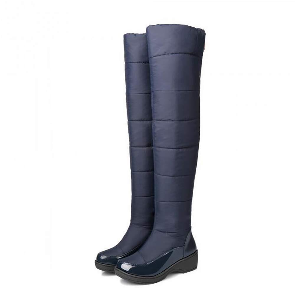 Hy Frauen-hohe Aufladungen Baumwolltuch Winter-warme windundurchlässige Snowproof Schnee-Aufladungen Stiefel/Damen unten warme Auf-Knie Aufladungen/Skifahren-Schuhe (Farbe : Blau, Größe : 36)