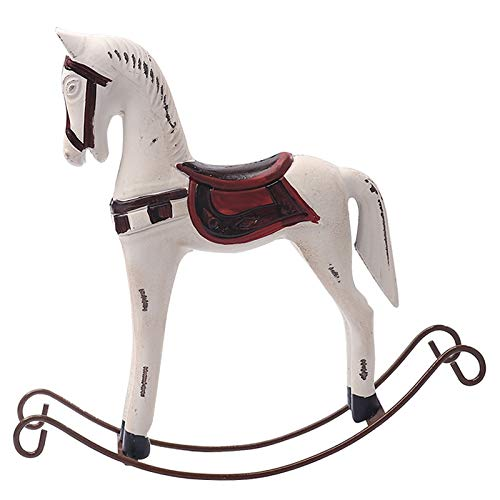 Inveroo Nordic Wood Rocking Horse Wooden Crafts Figurines Ornament Retro Hand-Painted Horse Statues Home Living Room Decor Desktop Gifts