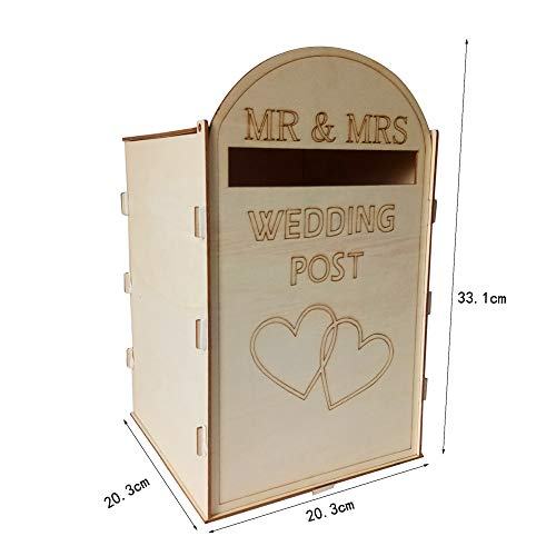 Galapara DIY Rustic Wedding Card Box with Lock and Key, Wooden Gift Wedding Mailbox Post Box with Lock Rustic Hollow Gift Card Holder for Reception Wedding Anniversary Party Decoration
