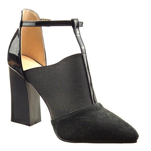 Sopily - damen Mode Schuhe Pumpe Sandalen T-Spange bi-Material glänzende Patent - Schwarz