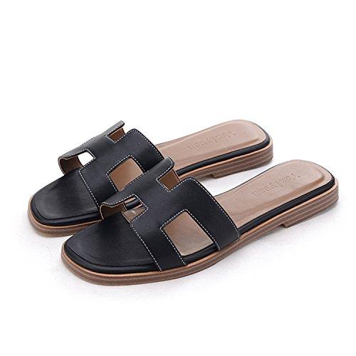 Sandals Women Luxury Slipper Genuine Cow Really Leather Lady Shoes H Flats Slippers Women fashiona Lambskin Black 7.5
