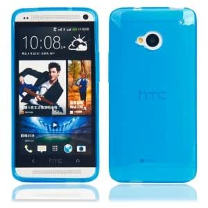 TPU Protective Case with Inner Matting Cover for HTC One M7 Blue