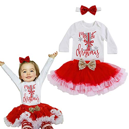 Yoveme Baby Girl Christmas Clothes My First Christmas Outfit Romper Headband with Tutu Skirts Party Dresses Outfits Sets