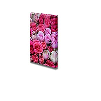 Canvas Prints Wall Art - Group of Roses in Different Shades of Pink | Modern Wall Decor/Home Art Stretched Gallery Wraps Giclee Print & Wood Framed. Ready to Hang - 36
