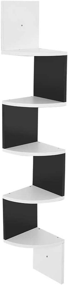 Estanter/ía esquinera con 5 niveles color negro y blanco EBTOOLS