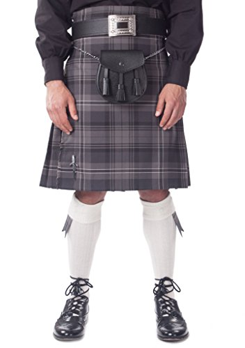 Kilt Society Mens 7 Piece Casual Kilt Outfit- Hamilton Tartan with White Hose 46'' to 50'' by Kilt Society