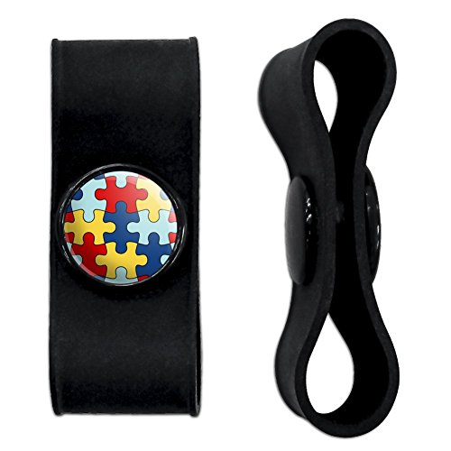 Graphics and More Autism Awareness Diversity Puzzle Pieces Headphone Earbud Cord Wrap - Charging Cable Manager - Wire Organizer Set of 2 - Black ()