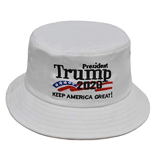 (Besti Donald Trump 2020 Keep America Great Cap Adjustable Baseball Hat with USA Flag - Breathable Eyelets (Bucket White))