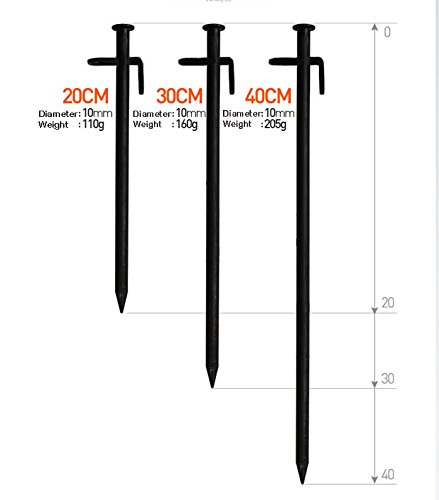 X-advanture(TM) Forged Steel Burly Tent Solid Stakes Casting Pegs Footprint 8inch (10-Pack) - 8 Inch by X-advanture