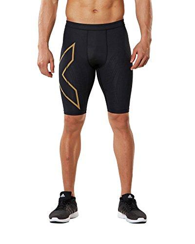 2XU Mens MCS Run Compression Shorts Black/Gold Reflective L by 2XU (Image #1)