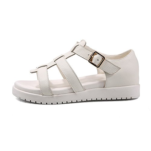 Amoonyfashion Kvinnor Öppen Tå Låga Häl Mjukt Läder Fast Spänne Sandaler Vita