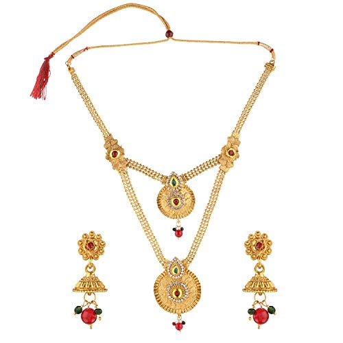 Efulgenz Indian Bollywood Traditional White Red Green Rhinestone Faceted Round Shape Faux Ruby Emerald Grand Heavy Bridal Designer Jewelry Necklace Set in Antique 18K Gold Tone for Women and Girls