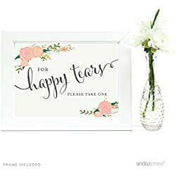 Andaz Press Wedding Framed Party Signs, Floral Roses, 5x7-inch, For Happy Tears Tissue Kleenex Ceremony Sign, 1-Pack, Includes Frame