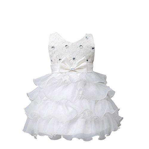 Floración Ruffle Baby Cumpleaños vestido Organza ZAMME Boda Girl Blanco qPUawnw6E