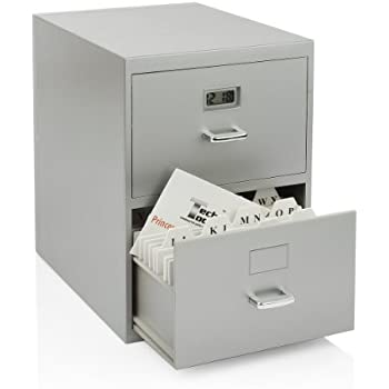 Miniature File Cabinet For Business Cards With Built In Digital Clock,  PI 9617