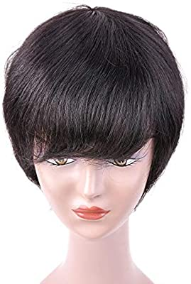 Hairpieces Hair Extension 100 Human Hair Short Slight Curly Wigs Black Short Hair Wigs For Black Women Wigs Hair Weave Color Black Size 6inch Buy Online At Best Price In