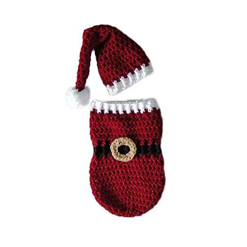RubyShopUU Newborn Baby Crochet Knitted Photography Wrap Christmas Bebe Santa Elk Sleeping Bag + Hat Xmas Costumes Photo Props Accessories -