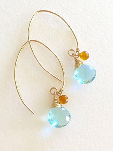 Aquamarine Earrings, March Birthstone, Aqua Blue Quartz Briolettes, Sky Blue Topaz, Heart Briolettes, Carnelian Accents, 14K Gold Fill.
