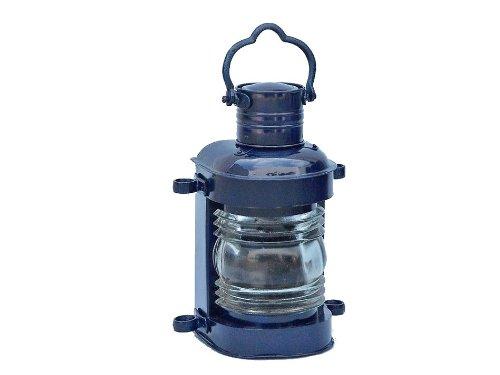 "Hampton Nautical  Iron Masthead Oil Lamp, 14"", Dark Blue, Iron"
