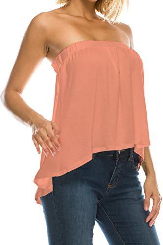 Womens High Low Ruffle Bottom Drapey Flowy Tube Top Blouse Made in (Ruffle Tube Top)