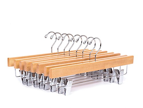 Amber Home Solid Gugertree Deluxe Wooden Pants Hangers Bottom Hanger Jeans Hanger Skirt Hanger Natural Color with 2-Adjustable Clips (10 Pack)