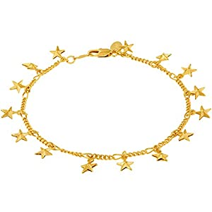 LIFETIME JEWELRY Ankle Bracelet with Dangling Stars for Women 24K Gold Plated
