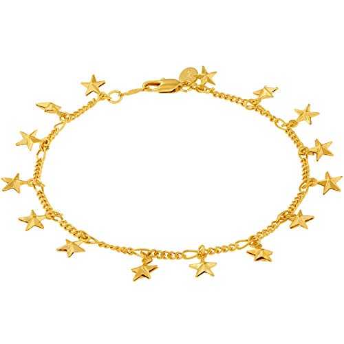 - Lifetime Jewelry Anklets for Women Men and Teen Girls - 24K Gold Plated Chain with Dangling Stars - Ankle Bracelet to Wear at Beach or Party - Cute Surfer Anklet - 9 10 and 11 inches (9)