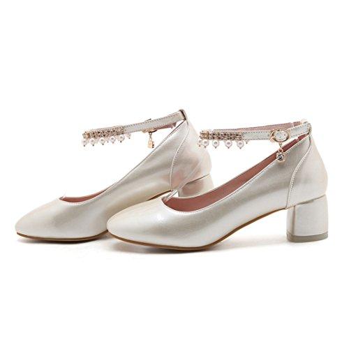 AIYOUMEI Damen Blockabsatz Knöchelriemchen Pumps mit 5cm Absatz und Perlen Chunky Heel Bequem Schuhe Aprikose