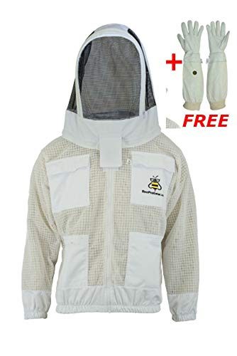 Bee Suit 3 Layer Safety Unisex White Fabric Mesh Beekeeping Jacket Beekeeping Fencing Veil Protective Clothing Beekeeping Clothing Beekeeping Protective Clothing Ventilated Bee-2XL