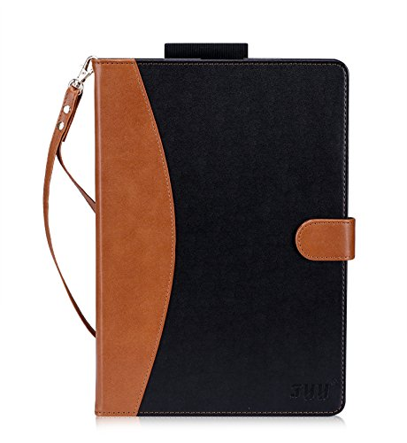 iPad Pro 10.5 Case-FYY (with Long Apple Pencile Holder and Auto Sleep Wake Function) Premium Folio Leather Case for iPad Pro 10.5 inch 2017 released Tablet Black & Brown