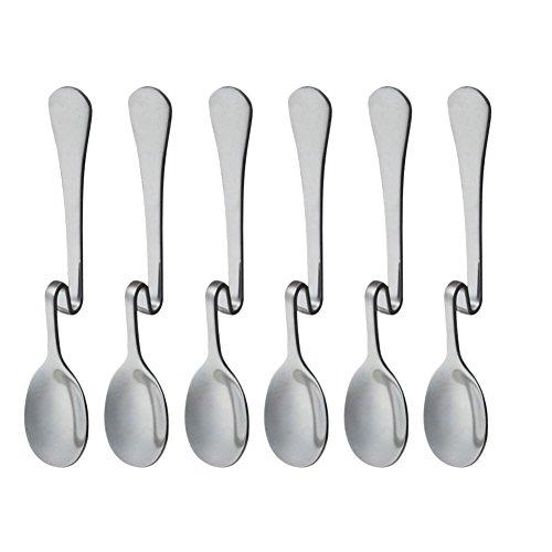 Set of 6 Hanging Coffee Spoon Creative Bending Handle Stainless Steel Stirring Spoons for Tea Coffee Dessert (Vertical Hanging S) (Six Coffee Spoons)