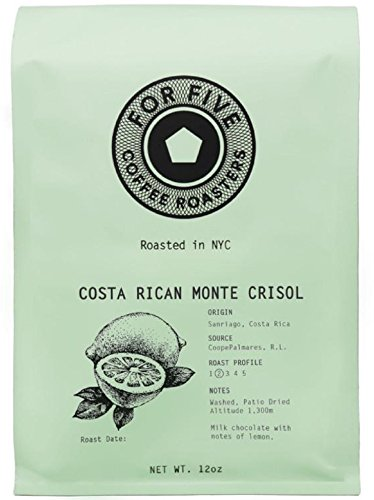 Five Bean - For Five Coffee Roasters Costa Rica Monte Crisol Light Roast (Origin:Sanriago, Costa Rica), Whole Bean 12 oz