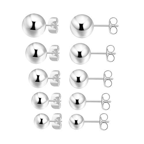 5 Pairs Sterling Silver Stud Earrings for Women Men Girls, Tiny Round Ball Stud Earrings 2-6mm Set