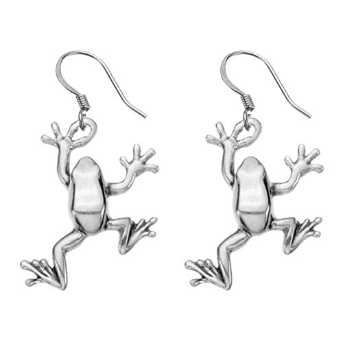 DANFORTH - Tree Frog Earrings - Pewter - 1 Inch - Surgical Steel Wires - Handcrafted - Made in USA